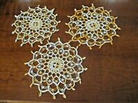 """Trio of vintage 11"""" diameter hand crocheted orange and ivory round doilies"""