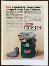 1977 Coleman Peak 1 Print Ad Souped Up Scaled Down Backpack Stove