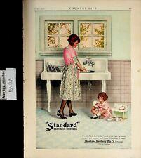 1922 Standard Plumbing Kitchen Washing Child Mother Vintage Print Ad 6364