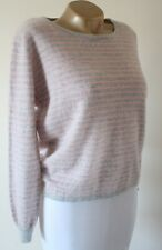 Jumper Sweater Ochre 100% Cashmere Size M Super Soft Knit Pink & Grey Nepal