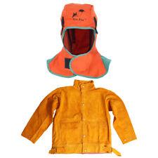 Welding Jacket Cowhide Leather Coat and Helmet Hood Neck Protection Welder