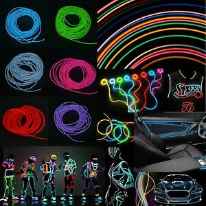 1/3/5M Battery Operated Luminescent Neon LED Lights Glow EL Wire String Strip UK