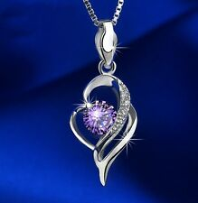 """Sterling silver Amethyst Cubic Zirconia Heart Pendant Necklace 18"""" Gift Box L4"""