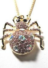 Betsey Johnson Jewelry Large Pink Crystal Puff Spider Pendant NWT
