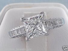 2.48CT PRINCESS CUT DIAMOND SOLITAIRE ENGAGEMENT RING SOLID 14CT WHITE GOLD