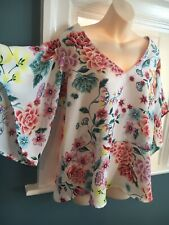 Per Una Marks And Spencer White Pink Angel Sleeve Tunic Top Size 16-18