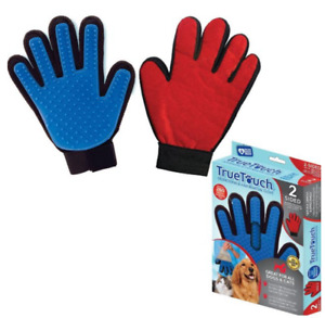TRUE TOUCH 2 Sided Glove Red Blue Deshedding Grooming Lint/Hair Remover