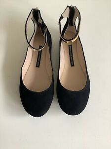 French Connection Flat Black Suede Ankle Strap Pumps 'Jaymey' Size 4 Zip Back