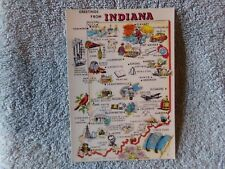 Vintage Postcard INDIANA, Map & Symbols    CP3680