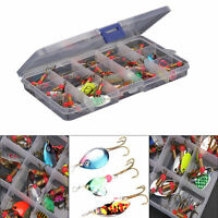 Lot 30pcs Colorful Trout Spoon Metal Fishing Lures Spinner Baits Bass Tackle U87