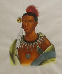 Ma-Has-Kah, Ioway Chief -19th C Native American Portrait after Charles Bird King