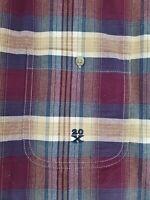 Wrangler Jean Co 20X Mens Cotton Button Down Shirt Burgundy Brown Plaid Size L