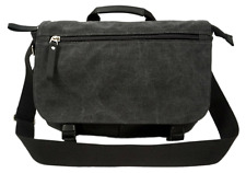 Charcoal 14 to 15 Laptop Notebook Tablet Canvas Messenger Bag Black Leather Trim