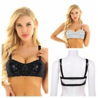 Women's Sequins Rave Dance Bra Bustier Crop Tops Vest Tank Tops Blouse T-Shirts