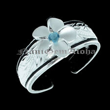 8mm Plumeria Scroll Toe Ring Blue Cz Hawaiian 925 Sterling Silver 2 black line &