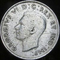 1942 VF Details Dinged Canada Silver 50 Cents (Fifty, Half) - KM# 36 - JG
