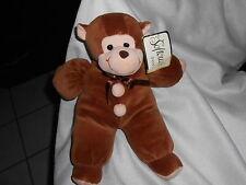 "softouch toys plush cream Brown 12"" Monkey Clown Brown Bow New Nwt Ape Chimp"