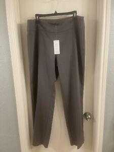 Eileen Fisher Stretch Silk Cotton Straight Leg Pants Gray Size L NWT $248