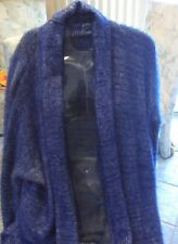 womans knit.sweater coat, splits  at side, length 3/4  size large. heather blue