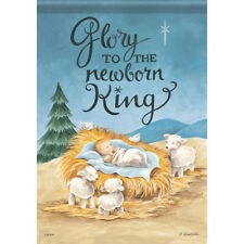 """JESUS the Newborn King House Flag  28"""" x 40"""" Double sided by Carson Christmas"""