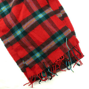 Super Soft Red Tartan Plaid Lambs Wool Scarf Johnstons of Elgin Made in Scotland