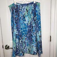 Serengeti Long Skirt Polyester Multiple Blues Size 1X