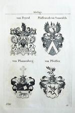 1837 4 Wappen Peyrol Pfaffenrath von Sonnenfels Pfannenberg Pfeiffer Tyroff