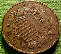 1868 Two Cent Piece 2c ~BETTER DATE~ HIGHER GRADE COlN w/ SOLID DETAILS ~ 41CD