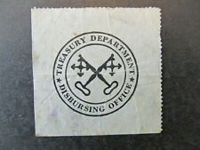 UNITED STATES TREASURY DEPARTMENT / DISBURSING OFFICE SEAL, CINDERELLA