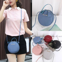 Mini Circular Round Messenger Bag  PU Leather Small Crossbody Bag Purse Handbag