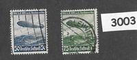 Complete Airmail Stamp set 1936 Zeppelin Hindenburg / Germany / Third Reich era