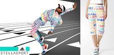 new STELLASPORT adidas 3/4 PRINTED LOGO SWEAT PANTS sz M gym Stella McCartney