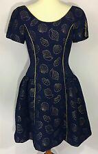 Vintage Scaasi Nights Navy Blue Seashell Nautical Princess Style Dress Size 8