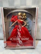 BARBIE 2019 Holiday Doll Blonde Curls Red & White Gown NEW