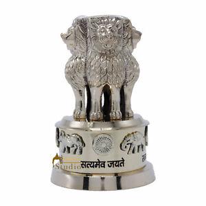 "Brass Statue Ashok Stambh Emblem India Symbolizing Power 5.5"""