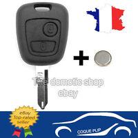 plip coque 2 boutons + pile clé Peugeot 106 206 206+ 206CC 306 107 207 307