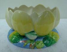 Clarice CLIFF dipinti a mano Giallo Lilly Pad Bowl vaso Newport ceramica Art Deco