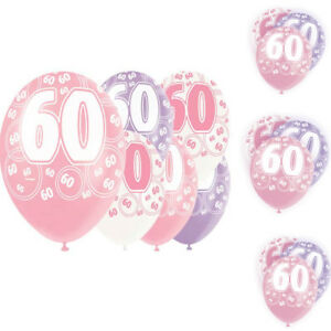 """Age 60th Birthday Balloons Pack of 6 Glitz Pink 12"""" 2 Colour Each Party Décor"""