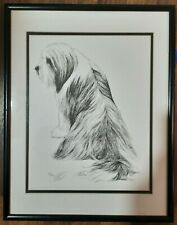 Lhasa Apso Dog Black & White Drawing by Lunn St Clair Stubbs 1991