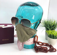 Gucci Authentic Sunglasses Face Mask Chain Strap GG Charms NWT W/ Box Receipt