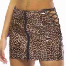 PVC Leopard Lace Up Side, Front Zip Mini Skirt Size 8 Animal Print Brown 12 inch