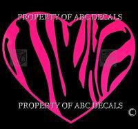 VRS Zebra Heart Love Vinyl Decal Wall Sticker 5.25 x 6.5