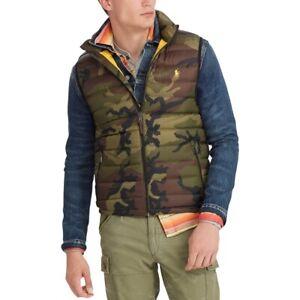 Polo Ralph Lauren Men's Down Pony Full Zip Packable Vest Green Camo Sz L NWT ⭐️