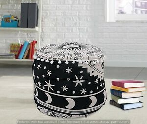 Indian Astrology Print Floor Cushion Cover Handmade Ottomans Round Pillows Cover