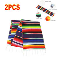 USA 2PCS Mexican Serape Table Runner Wedding Decor Fringe Cotton Tablecloth New