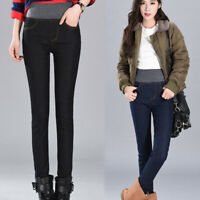 Women Winter Thick Thermals Warm Jeans High Waist Trousers Outdoor Slim Pants