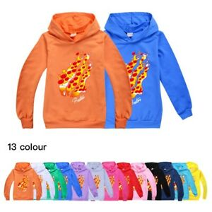 2021 Prstonplayz Letter Printed Kids Hoodie Pizza Flame Sweatshirt Long Tee Tops