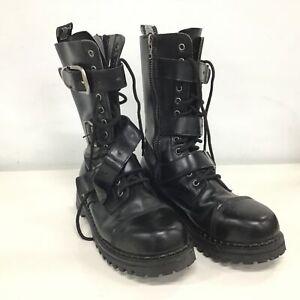 Demonia Alternative Footwear Black Mid-Calf Combat Boots Size 10 #710