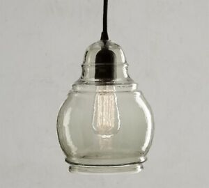 "Pottery Barn Paxton hand blown glass pendant medium shade 10"" chandelier green"