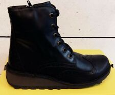 Ladies Fly London Marl Black Leather Lace & Zip Ankle Boots